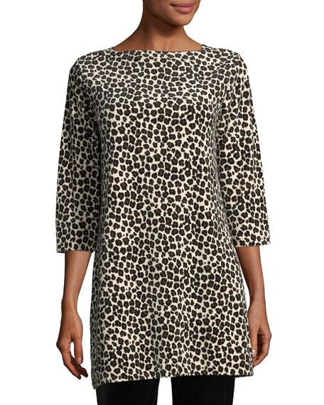 Joan Vass Leopard-Print Velour 3/4-Sleeve Tunic, Petite