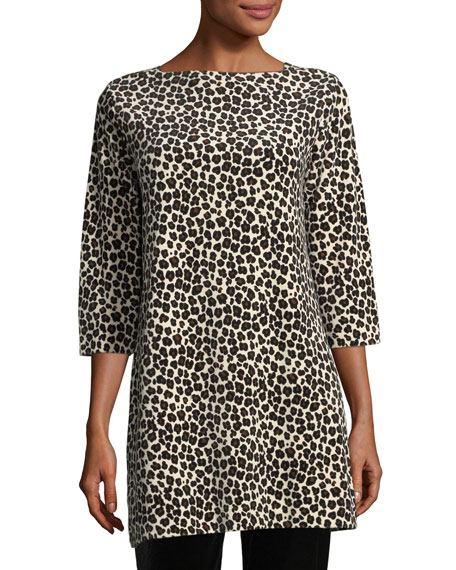 Joan Vass Leopard-Print Velour 3/4-Sleeve Tunic, Plus Size