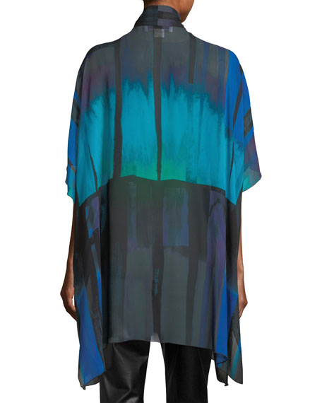Jewel-Tone Georgette Long Tunic, Plus Size
