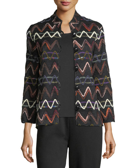 Caroline Rose Zigzag Striped Jacket