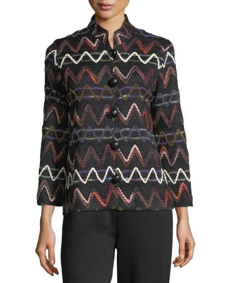 Zigzag Striped Jacket, Plus Size