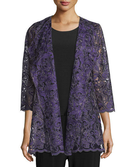 Caroline Rose Luxe Embroidery Cardigan, Plus Size