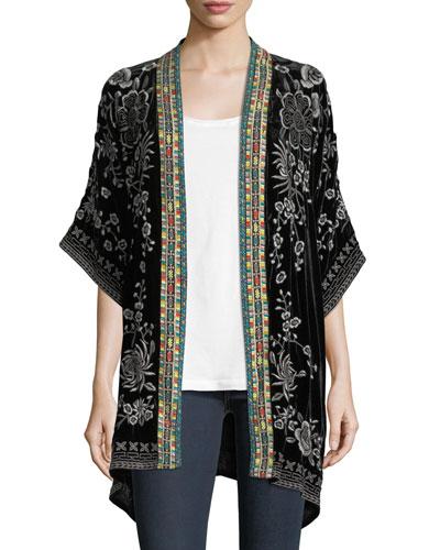 Okinawa Velvet Embroidered Kimono Jacket, Petite