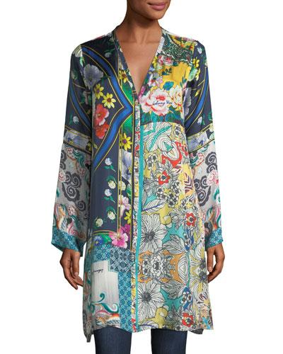 Multi-Print Silk Button-Front Cardigan Tunic