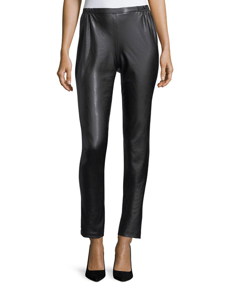 Bi-Stretch Faux-Leather Pants, Petite