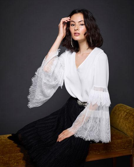 Steph Lacy Bell-Sleeve Silk Blouse
