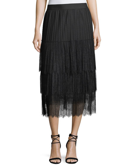 Kobi Halperin Brooklyn Tiered Lace Midi Skirt and