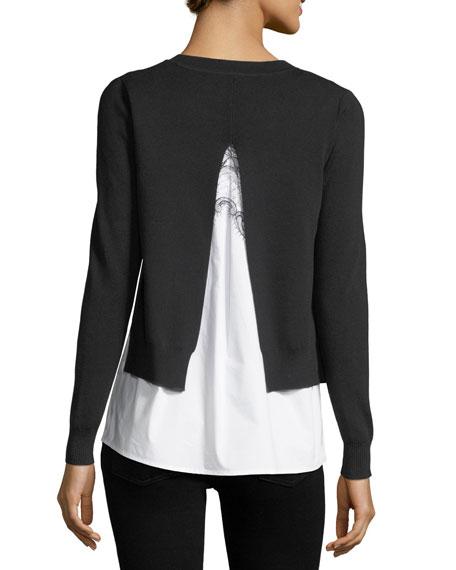 Adela Layered Sweater & Shirting Combo Top
