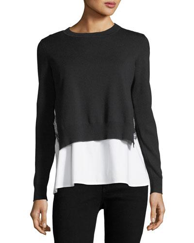Adela Layered Sweater & Shirting Combo Top