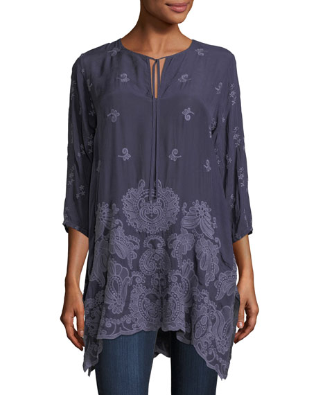 Paisley Flair Georgette Easy Tunic, Plus Size