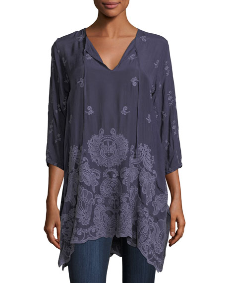 Johnny Was Paisley Flair Georgette Easy Tunic, Plus