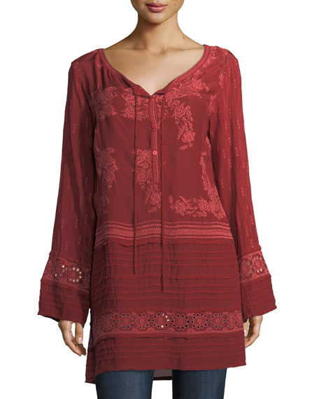 Leafly Tiered Popover Tunic, Plus Size