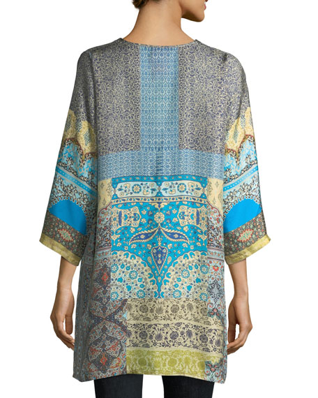 Journey 3/4-Sleeve V-Neck Printed Silk Twill Top