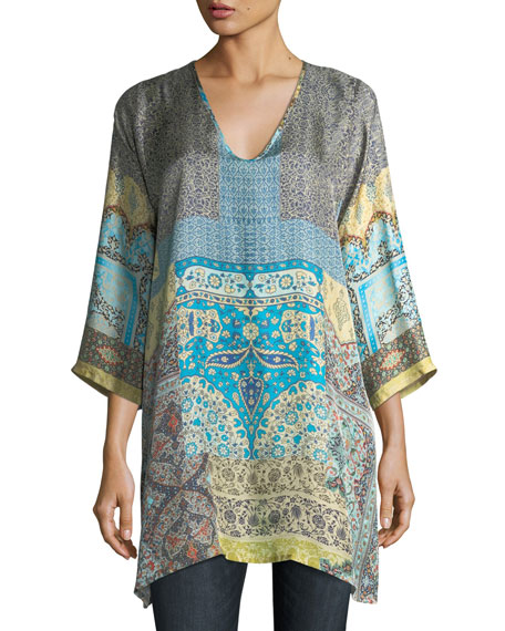 Journey 3/4-Sleeve V-Neck Printed Silk Twill Top, Plus Size