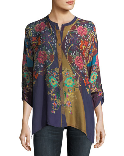 Mardi Oversized Embroidered Georgette Blouse, Plus Size