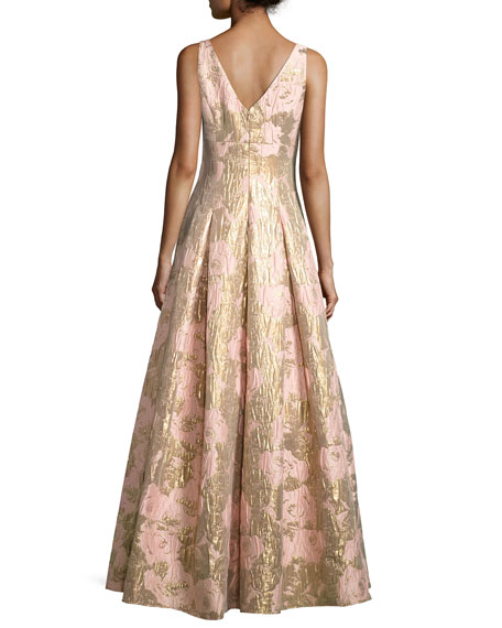 Sleeveless Pleated Floral Brocade Gown