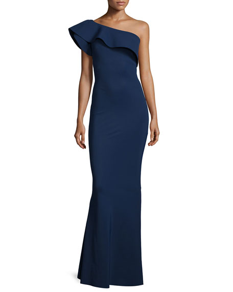 Elisse One-Shoulder Ruffle Mermaid Gown, Blue Notee