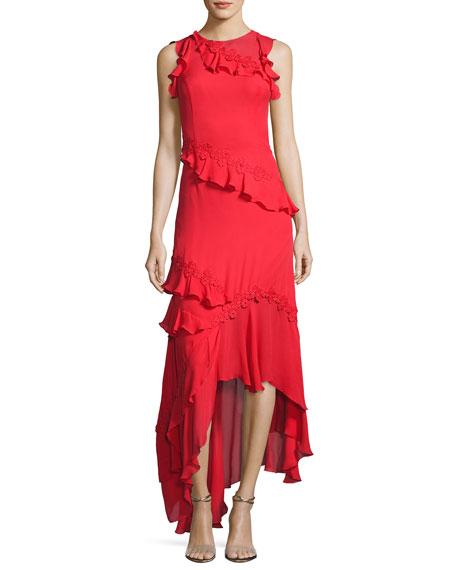 Lake Sleeveless Silk Georgette Ruffle Gown