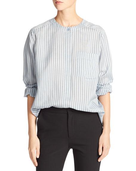 Vince Menswear Striped Charmeuse Shirt, Blue