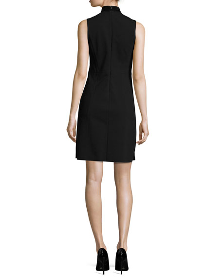 Eulia DR Tidle Paneled Suede Cocktail Dress, Black