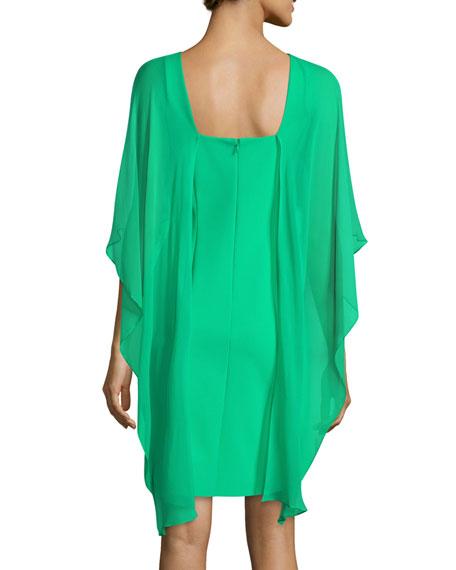 Cape-Sleeve Scuba Sheath Dress
