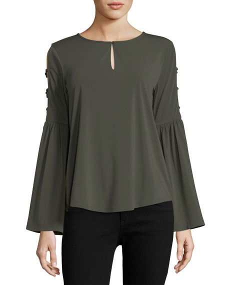 Marled by Reunited Bell-Sleeve Keyhole Blouse