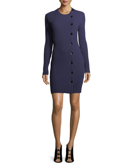 Asymmetric Button-Front Knit Dress