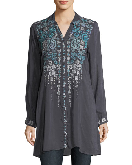 Johnny Was Skye Long-Sleeve Embroidered Georgette Tunic, Plus