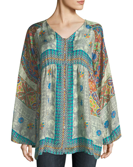 Mocity Button-Front Printed Silk Georgette Tunic