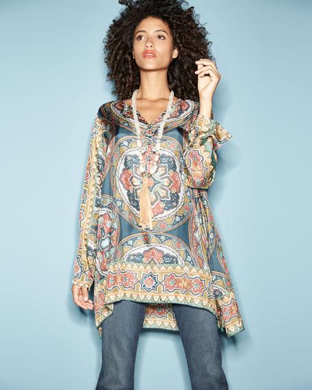 Spezia Long-Sleeve Printed Silk Georgette Tunic, Plus Size