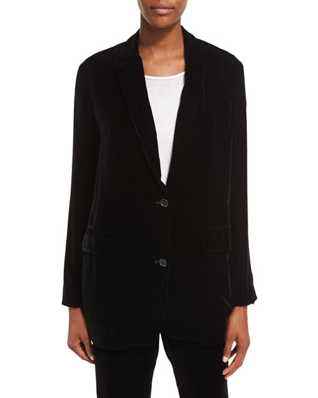 Velvet Two-Button Boyfriend Blazer