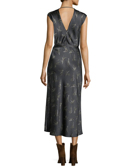 Spring Floral-Print Crossover Satin Slip Dress