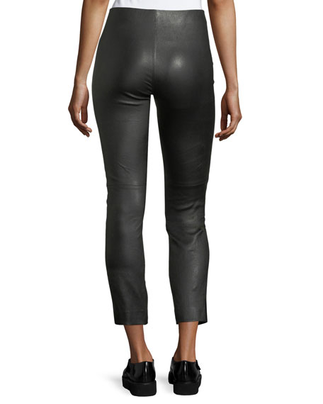 Leather Split-Hem Cropped Pants