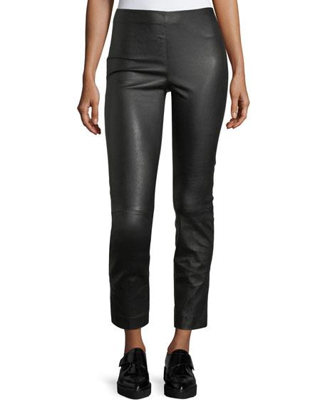 Leather Split-Hem Cropped Pants