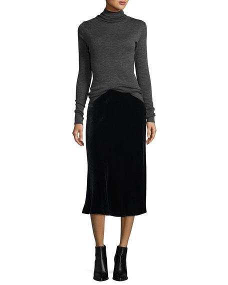Elastic Waist Velvet Midi Skirt