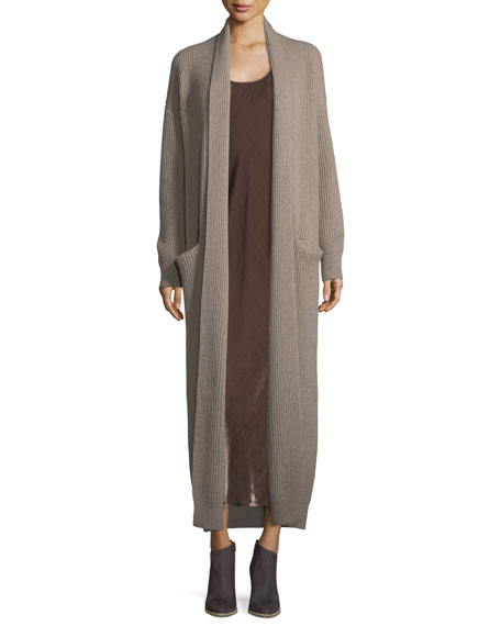 Open-Front Ribbed Sweater Robe