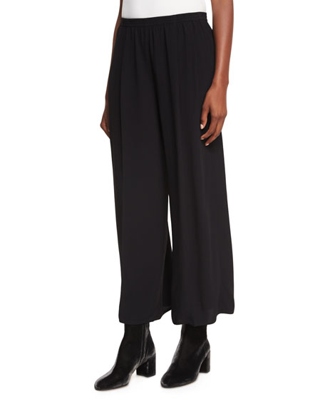 Mid-Rise Pull-On Culotte Pants