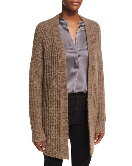 Waffle-Stitch Open-Front Cardigan Sweater