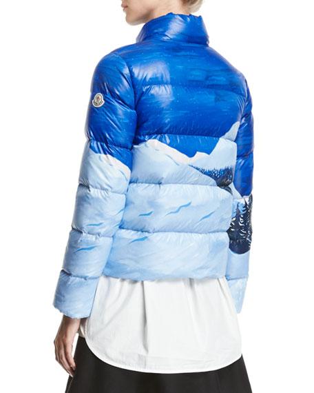 Brethil Funnel-Collar Zip-Front Puffer Coat
