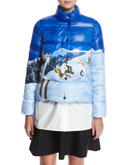 Moncler Brethil Funnel-Collar Zip-Front Puffer Coat