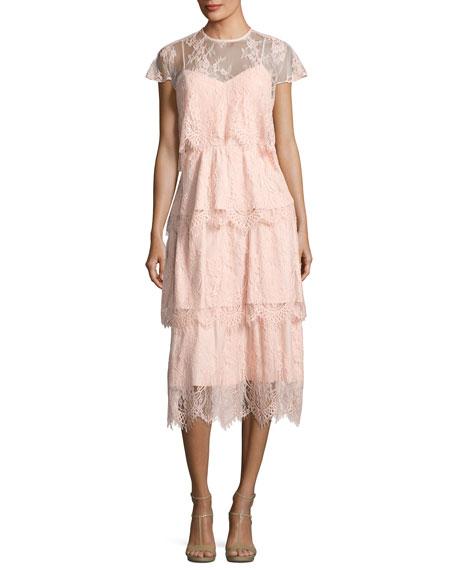 Parker Elsa Tiered Lace Midi Dress, Blush