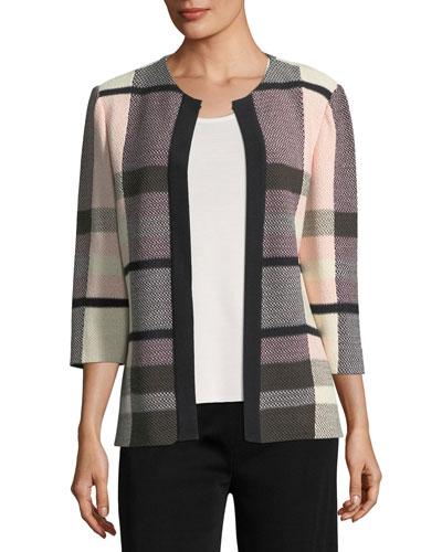 Plaid 3/4-Sleeve Jacket, Plus Size