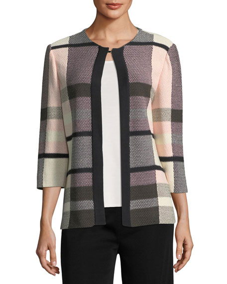 Plaid 3/4-Sleeve Jacket, Petite