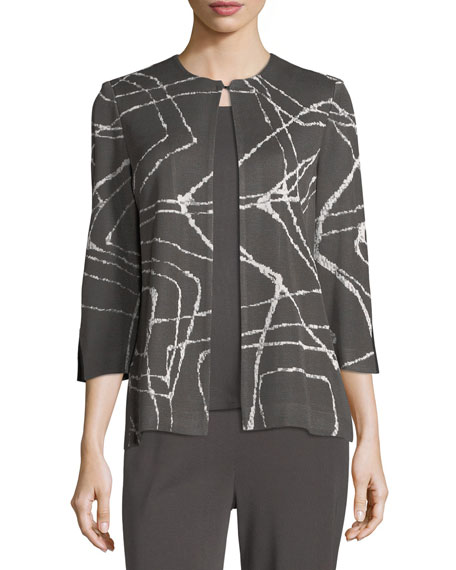 Spiderweb 3/4-Sleeve Jacket, Plus Size