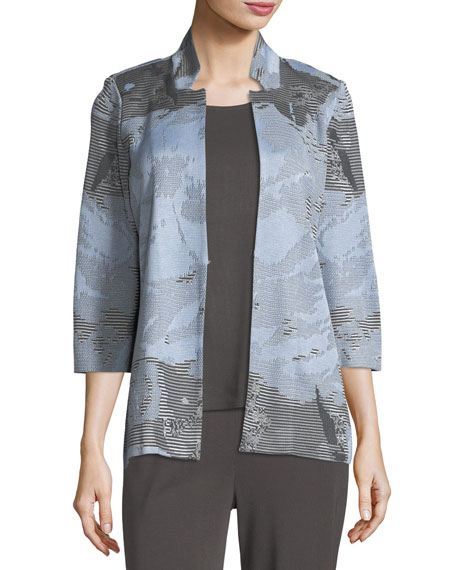 Misook Subtle Stripes & Floral Jacket