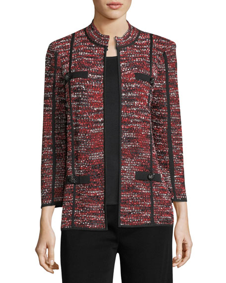 Misook Boucle Mandarin-Collar Jacket, Petite