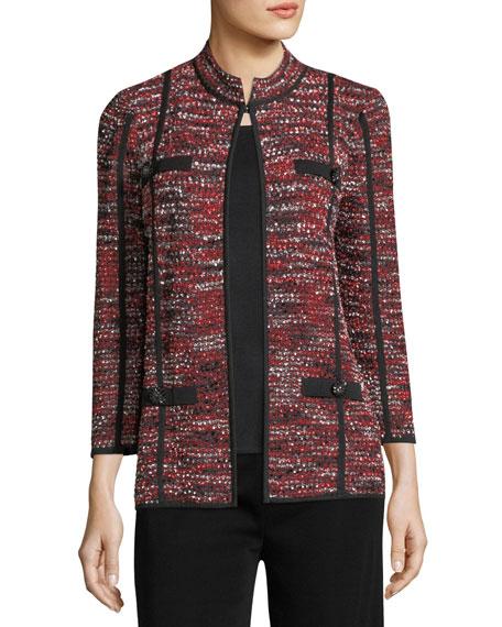 Boucle Mandarin-Collar Jacket