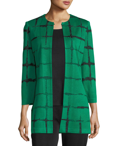 Faded Lines Long Jacket, Plus Size