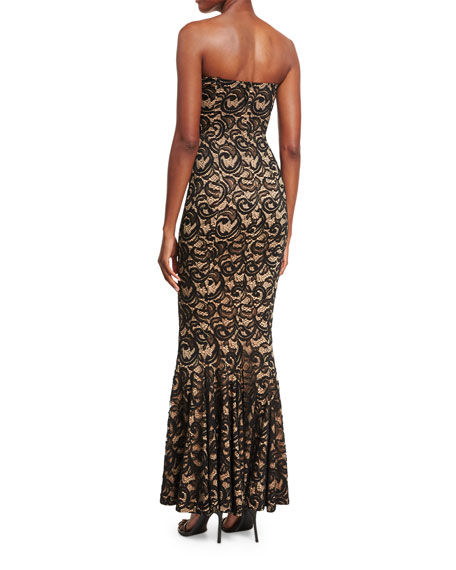 Strapless Sweetheart Lace Corset Gown, Black