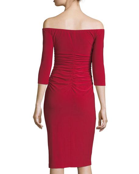 Off-Shoulder 3/4-Sleeve Shirred-Waist Cocktail Dress